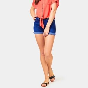 MOTHER Dropout Cuff Short in Bright Eyes